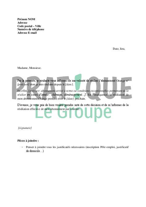 Exemple Lettre De R Siliation Orange Lettre De R 233 Siliation D Abonnement Chez Orange Pratique Fr