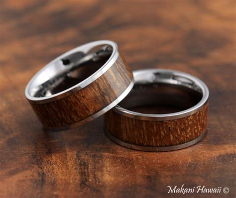 Flat Rin 871 by Koa Wood Tungsten Wedding Ring Flat 8mm For Keeps