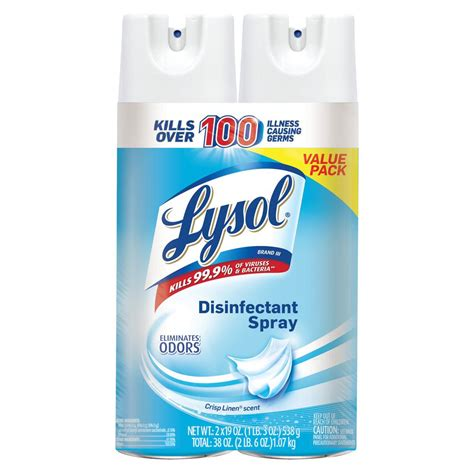 lysol  oz crisp linen disinfectant spray  pack    home depot