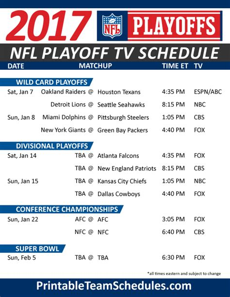 printable nfl schedule with channels nfl playoff tv schedule 2017 print here http