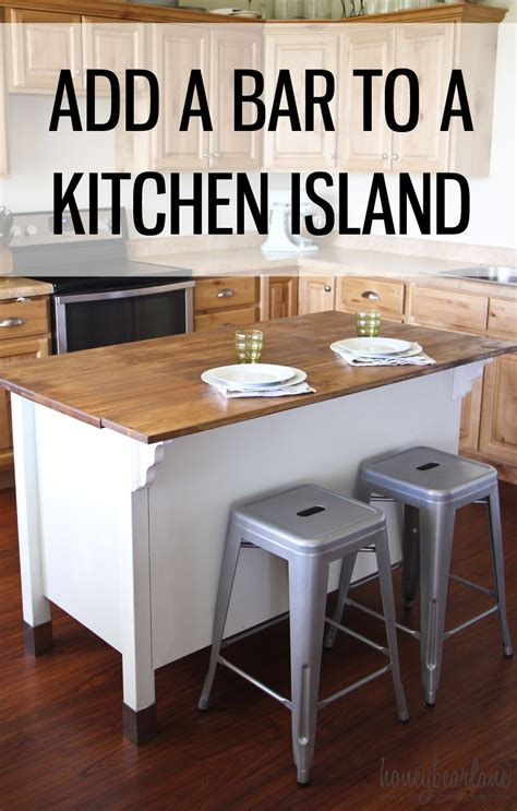 how to add a kitchen island adding a bar to a kitchen island honeybear lane