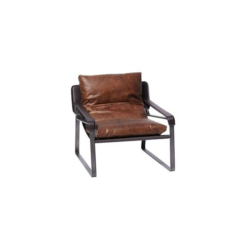 Aviator Armchair by Funky Distressed Leather Armchair Metal And Black Designer