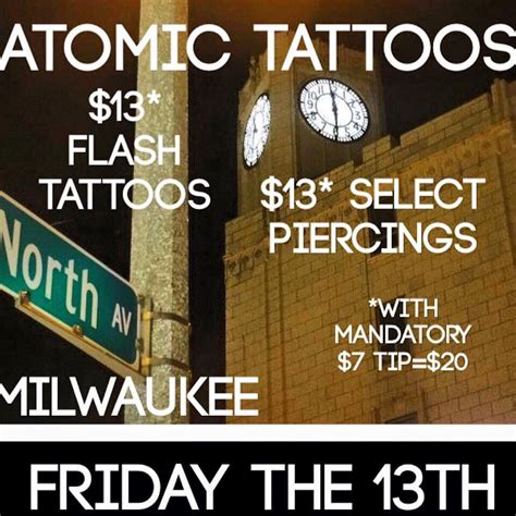 atomic tattoos friday the 13th atomic tattoos east side milwaukee studio 414 289 7777