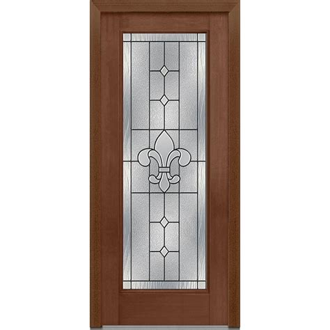 Decorative Glass Front Doors Mmi Door 33 5 In X 81 75 In Carrollton Decorative Glass Lite Mahogany Finished Fiberglass