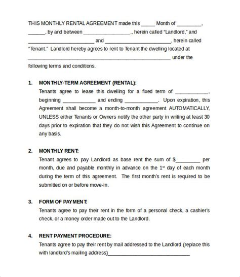monthly rental agreement template monthly rental agreement templates 9 free