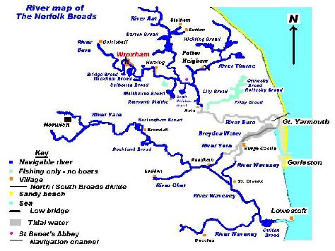 broad river map map ofthe norfolk broads