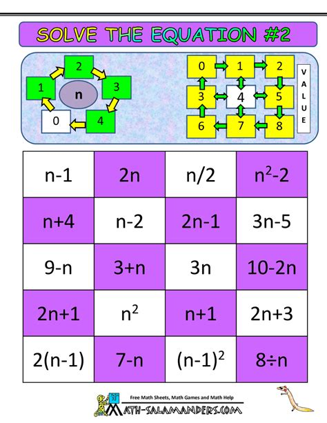 Printable Games Algebra | algebra math games