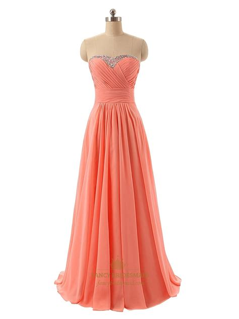 beaded neckline dress coral strapless beaded sweetheart neckline ruched bodice