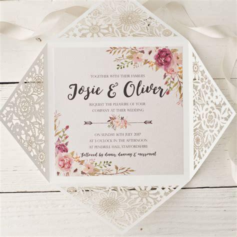 wedding invitation design peony floral design laser cut wedding invitation by