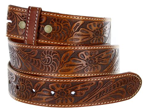 bs118 western floral engraved tooled leather belt 1