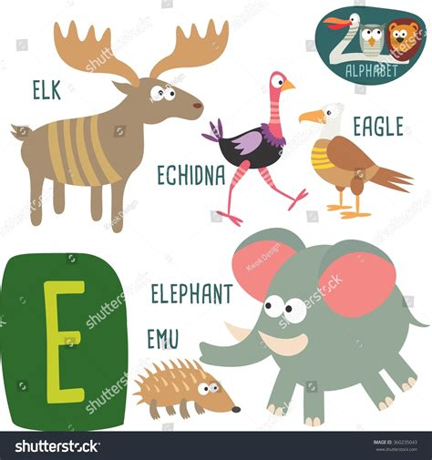 animals that start with the letter e cute zoo alphabet vectore letter stock vector 1077