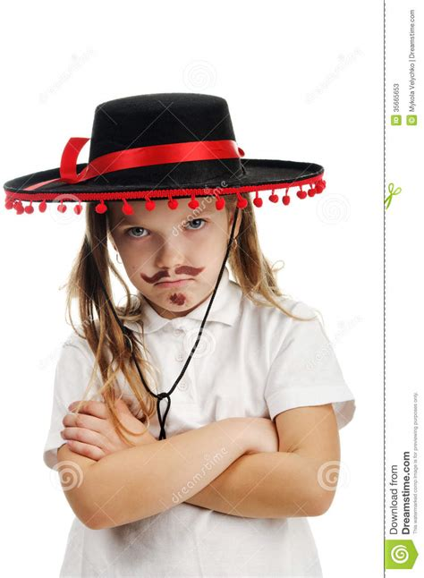 little girl mexican model little girl in a mexican sombrero stock photos image