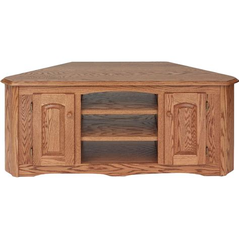 solid wood oak country corner tv stand w cabinet 55