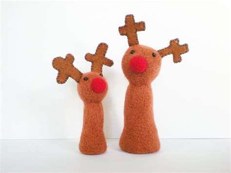large plush reindeer needle felted christmas decoration