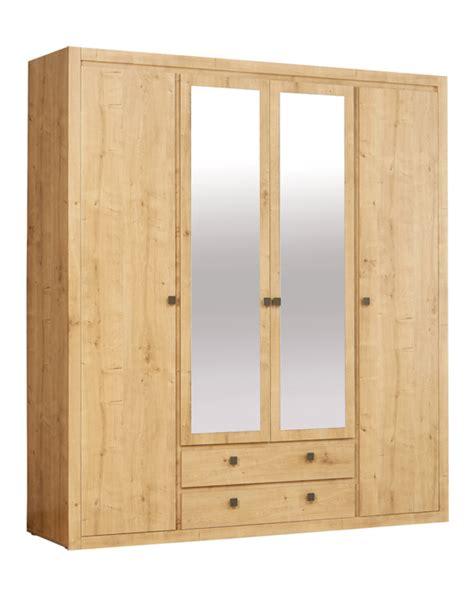 armoire de chambre armoire 4 portes 2 tiroirs indigo chambre a coucher chene