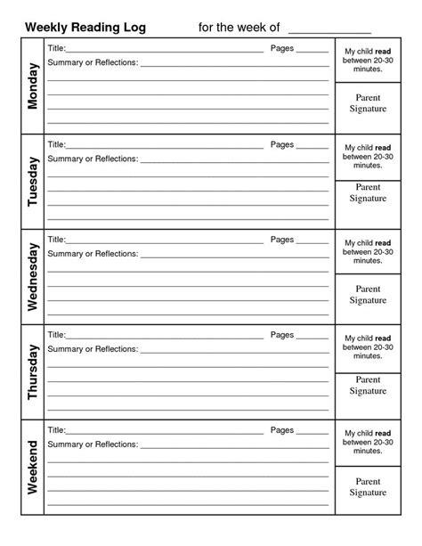 weekly reading log summary reading pinterest