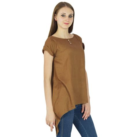 P Blouse Tunik Calista 1 t shirts tops phagun sleeve tunic casual summer blouse plain boho top brown