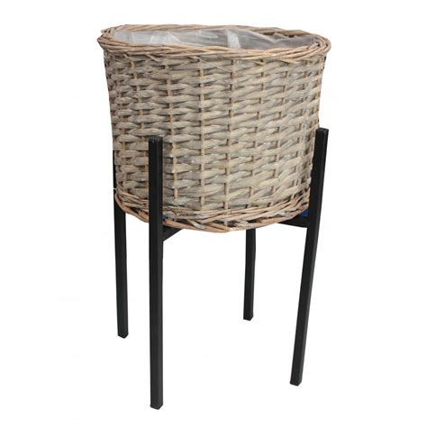 Wicker Planter Stand by Grey Wash Wicker Planter And Stand