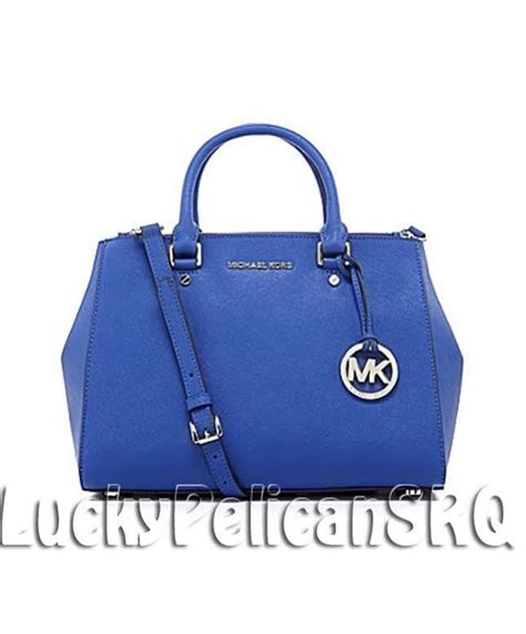 Michael Kors Sutton Medium Electric Blue And Navy michael kors sutton saffiano medium satchel bag handbag electric blue nwt michaelkors satchel