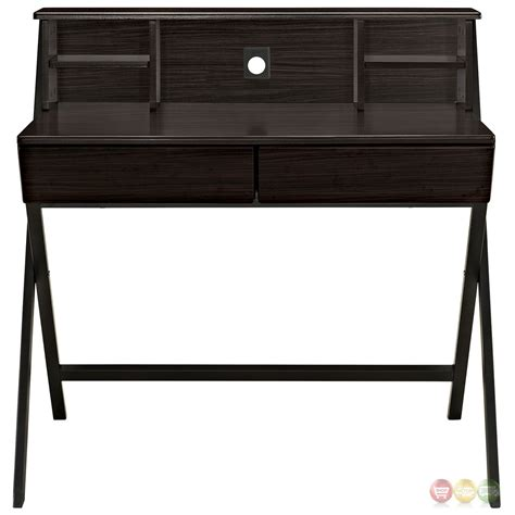 Office Desk With Hutch Storage Trove Contemporary Wood Grain Office Desk With Storage Hutch Walnut