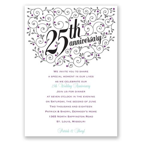 forever filigree 25th anniversary invitation invitations