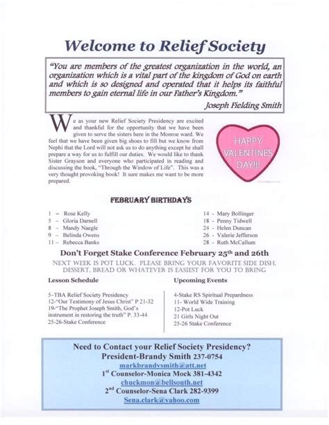 Monroe Sisters February 2012 Relief Society Newsletter Lds Relief Society Newsletter Ideas Relief Society Newsletter Template Free
