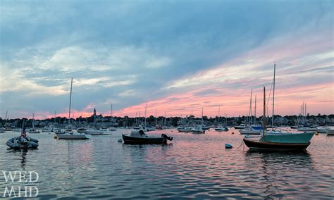 boat shop marblehead sunset lights up the boats in marblehead harbor