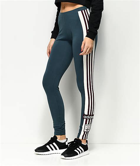 Legging Winter Stripe 3 7 adidas adibreak midnight blue burgundy stripe 3 stripe zumiez