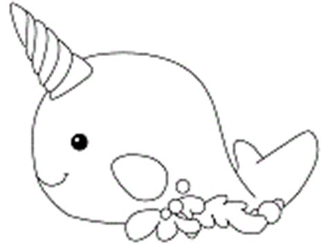 coloring page narwhal whales coloring pages
