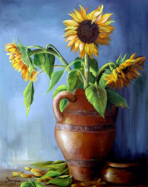 Sunflowers In Vase by Sunflowers In Vase By Dominica Alcantara