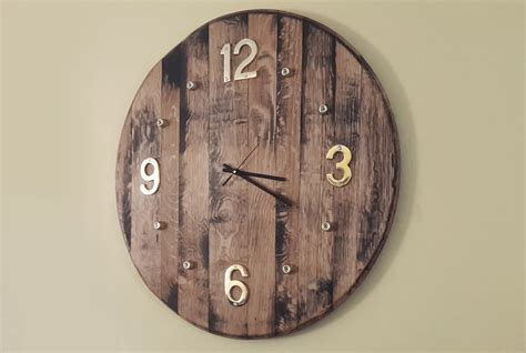 diy wooden wall clock wine barrel projects woodwork junkie