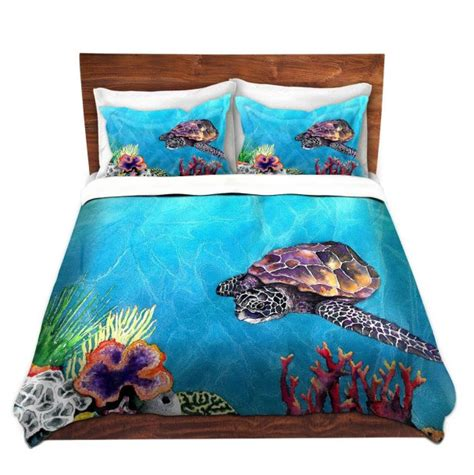 Duvet Set Sea Turtle Painting Nature Modern Bedding Queen Turtle Bedding Set