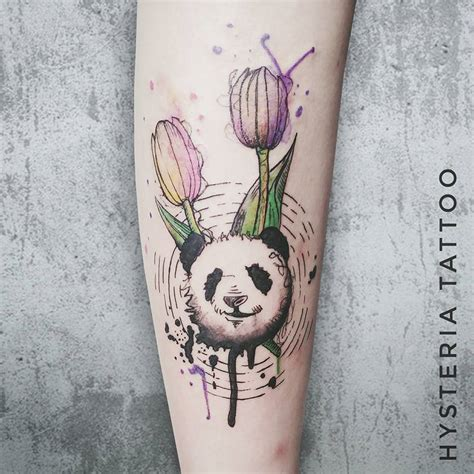watercolor tattoo amsterdam panda tulip watercolor hysteria