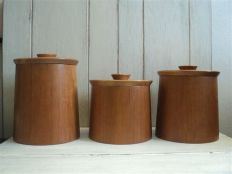 contemporary kitchen canisters set of teak canisters by valerie s vintage home modern