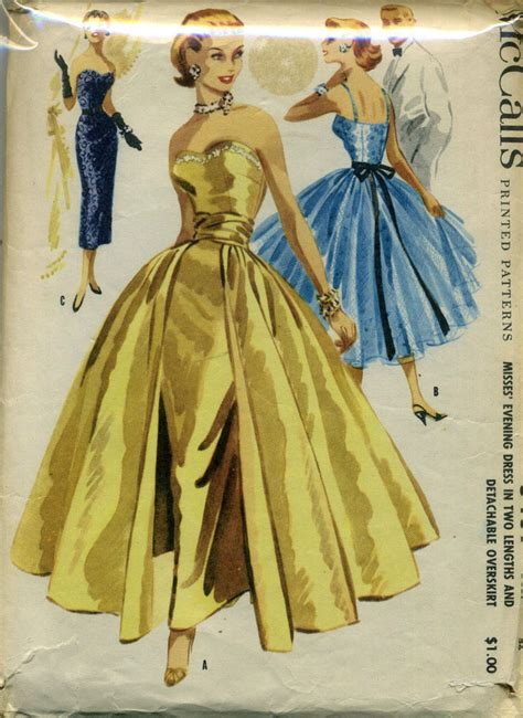 vintage gown pattern vintage 50 s mccall s 3439 evening wedding dress gown