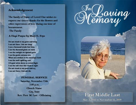 memorial brochure templates free funeral service program template word templates
