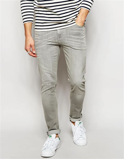 light gray jeans mens lyst asos skinny jeans in light grey in gray for men