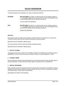 Contract Addendum Template by Sales Addendum Template Sle Form Biztree