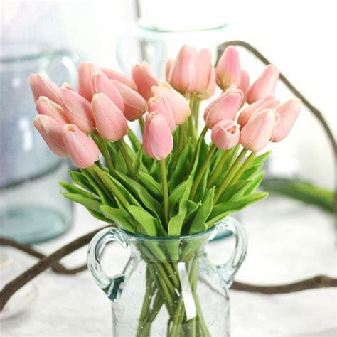 2016 New 21pcs Artificial Decorative Flowers 21pcs Lot Tulips Artificial Flowers Pu Wedding Decoration Bouquet Real Touch Artificial Flower