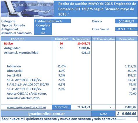 sueldo empleado de comercio marzo 2016 ejemplo de recibo de sueldo comercio 2015 2016 autos post