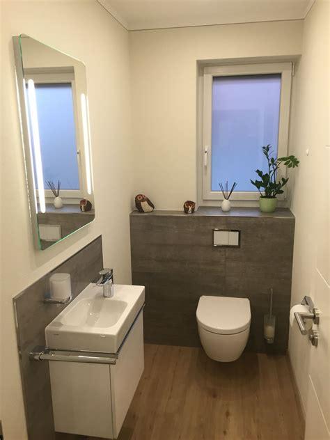 gäste wc ohne wandfliesen g 228 ste wc teilgefliest mit grauen fliesen in betonoptik und