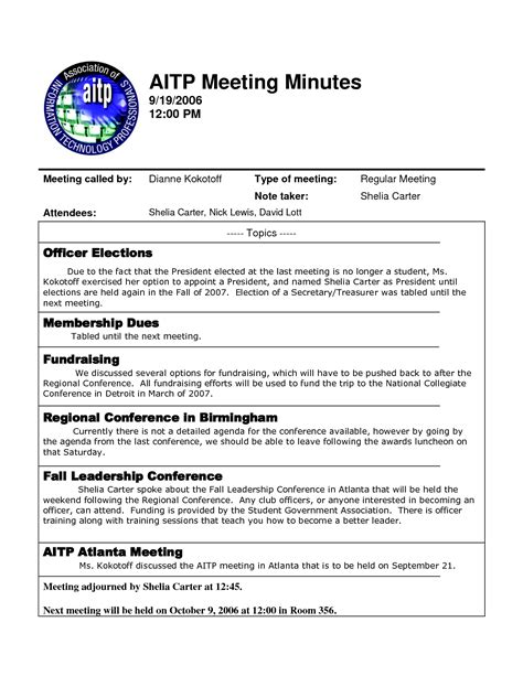 minutes meeting template best photos of template of minutes of meetings exles