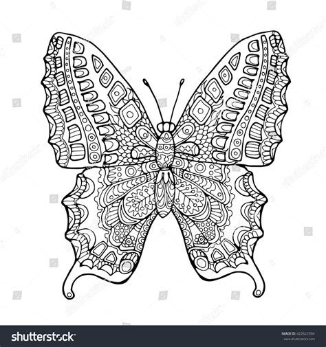 butterfly doodle coloring pages decorated zentangle butterfly doodle page adult stock