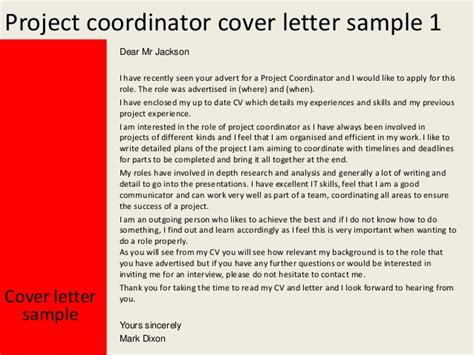 Cover Letter Project by Project Coordinator Cover Letter