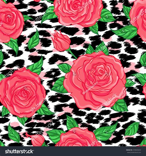 Vintage Background Leopard Skin Style Seamless Vintage Floral Pattern Stock Vector