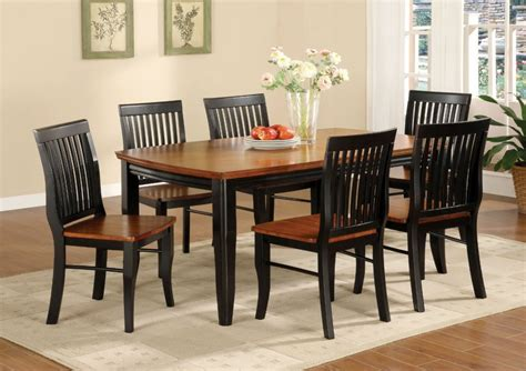 Painted Oak Dining Table And Chairs Black And Brown Painted Oak Mission Style Dining Room Set With Rectangle Wooden Dining Table And