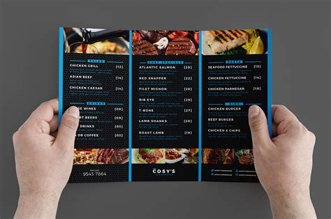 trifold restaurant menu template brandpacks