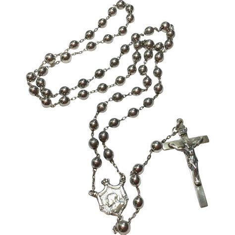 silver rosary vintage sterling silver catholic rosary 1935 from