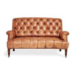 2 seater brown leather tufted sofa with wooden legs for