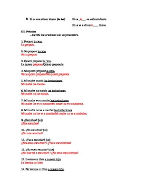Direct Object Pronouns Worksheet With Answers by Direct And Indirect By World Language Classroom